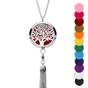 Collier avec Pendentif diffuseur de parfum grand médaillon arbre de vie et pompon - réglable 45 à 65cm - Vue 1