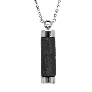 Collier avec Pendentif diffuseur de parfum tube de bois noir 50+5cm - Vue 1