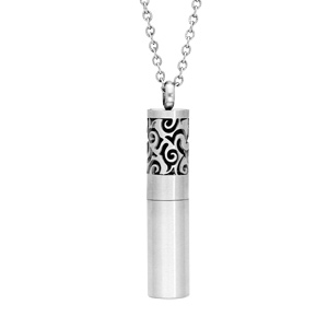 Collier avec Pendentif diffuseur de parfum tube motifs arabesques 50+5cm - Vue 1