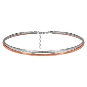 Collier choker en simili-cuir 2 bandes, 1 métalisé et l\'autre rose métalisé et fermoir en argent rhodié - longueur 37cm + 5cm de rallonge - Vue 1