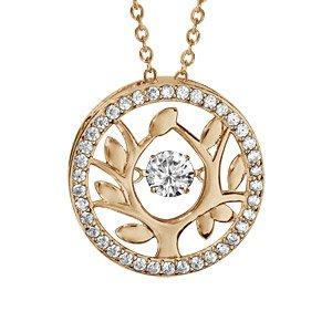 Collier Dancing Stone en argent et dorure jaune chaîne avec pendentif rond arbre de vie orné d\'oxydes blancs - longueur 42cm + 3cm de rallonge - Vue 1