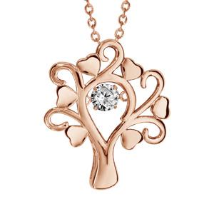 Collier Dancing Stone en argent et dorure rose chaîne avec pendentif arbre de vie et branches coeurs - longueur 42cm + 3cm de rallonge - Vue 1