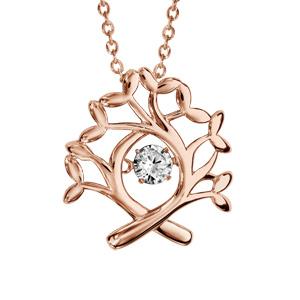 Collier Dancing Stone en argent et dorure rose chaîne avec pendentif arbre de vie - longueur 42cm + 3cm de rallonge - Vue 1
