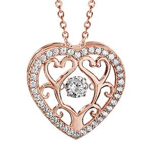 Collier Dancing Stone en argent et dorure rose chaîne avec pendentif coeur avec arbre de vie à l\'intérieur et oxydes blancs - longueur 42cm + 3cm de rallonge - Vue 1