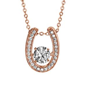 Collier Dancing Stone en argent et dorure rose chaîne avec pendentif fer à cheval et oxydes blancs - longueur 42cm + 3cm de rallonge - Vue 1