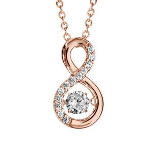 Collier Dancing Stone en argent et dorure rose chaîne retenant pendentif symbole infini orné d\'oxydes blancs - longueur 42cm + 3cm de rallonge - Vue 1