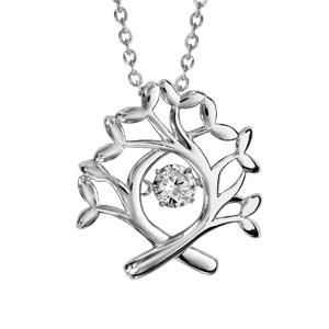 Collier Dancing Stone en argent rhodié chaîne avec pendentif arbre de vie - longueur 42cm + 3cm de rallonge - Vue 1
