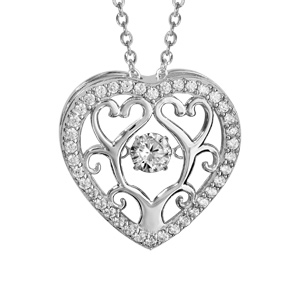 Collier Dancing Stone en argent rhodié chaîne avec pendentif coeur avec arbre de vie à l\'intérieur et oxydes blancs - longueur 42cm + 3cm de rallonge - Vue 1
