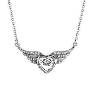 Collier Dancing Stone en argent rhodié chaîne avec pendentif coeur entre 2 ailes d\'ange ornées d\'oxydes blancs - longueur 41,5cm + 3cm de rallonge - Vue 1