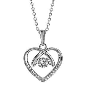 Collier Dancing Stone en argent rhodié chaîne avec pendentif coeur et oxydes blancs sur la pointe - longueur 41,5cm + 3cm de rallonge - Vue 1