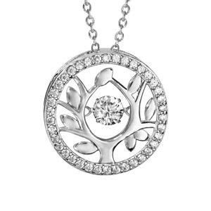 Collier Dancing Stone en argent rhodié chaîne avec pendentif rond arbre de vie orné d\'oxydes blancs - longueur 42cm + 3cm de rallonge - Vue 1