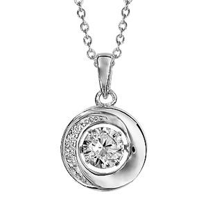 Collier Dancing Stone en argent rhodié chaîne avec pendentif rond avec oxydes blancs - longueur 42cm + 3cm de rallonge - Vue 1