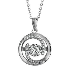 Collier Dancing Stone en argent rhodié chaîne avec pendentif rond et 2 extrémités en spirales ornées d\'oxydes blancs - longueur 41,5cm + 3cm de rallonge - Vue 1