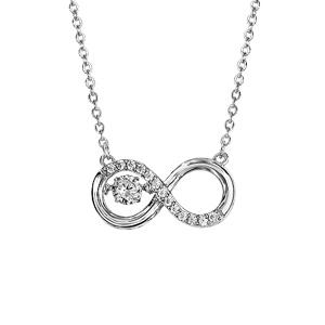 Collier Dancing Stone en argent rhodié chaîne avec pendentif symbole infini orné d'oxydes blancs - longueur 42cm + 3cm de rallonge