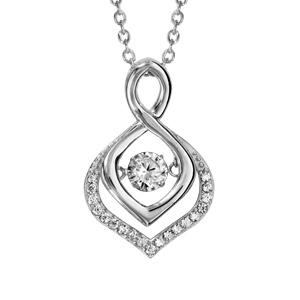 Collier Dancing Stone en argent rhodié chaîne avec pendentif vrillé se finissant en pointe ornée d\'oxydes blancs - longueur 42cm + 3cm de rallonge - Vue 1