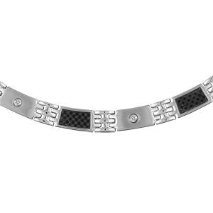 Collier en acier alternance de maillons avec carbone quadrillé et maillons avec vis - longueur 49cm + 4cm réglable par double fermoir