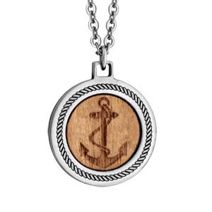 Collier en acier avec pendentif en bois motif ancre marine 50+5cm - Vue 1