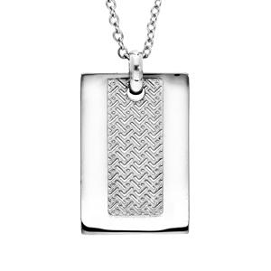 Collier en acier avec Pendentif plaque rectangulaire et motif graphique 50+5cm - Vue 1