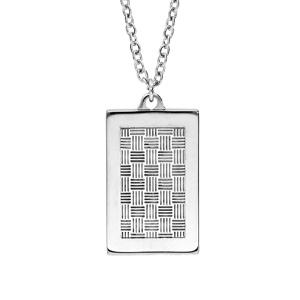 Collier en acier avec Pendentif plaque rectangulaire motif graphique quadrillage 50+5cm - Vue 1