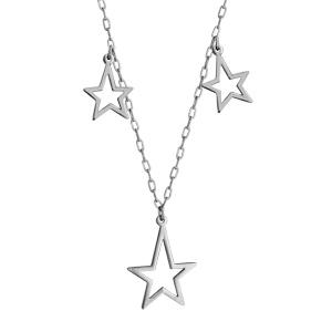 Collier en acier chaîne avec 3 pampilles étoiles évidées - longueur 40cm + 5cm de rallonge - Vue 1