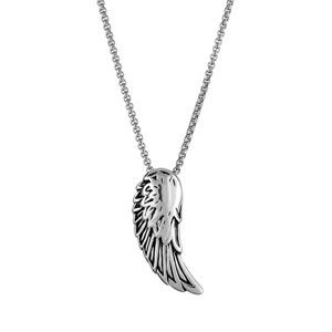 Collier en acier chaîne avec pendentif aile d'ange patinée vieillie - longueur 50cm