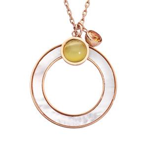 Collier en acier chaîne avec pendentif cercle effet nacre blanche imitation et pierres effet oeil de chat 42+3cm - Vue 1