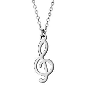 Collier en acier chaîne avec pendentif clef de sol - longueur 40cm + 3cm de rallonge