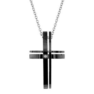 Collier en acier chaîne avec pendentif croix chrétienne en bandes de résine noire - longueur 51cm