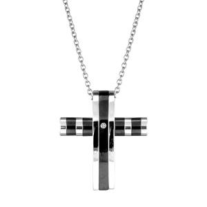 Collier en acier chaîne avec pendentif croix chrétienne rayée gris et noir et ornée d'1 oxyde blanc au milieu - longueur 38,5cm + 7,5cm de rallonge
