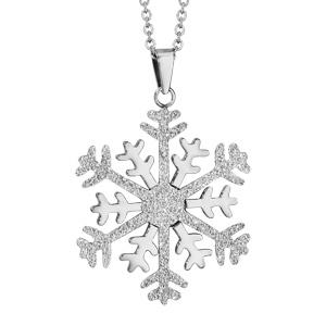 Collier en acier chaîne avec pendentif flocon de neige granité et brillant - longueur 42cm + 4cm de rallonge - Vue 1