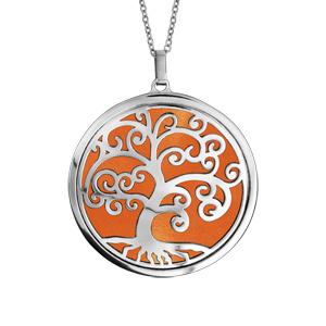 Collier en acier chaîne avec pendentif motif arbre de vie orange 45cm + 10cm - Vue 1