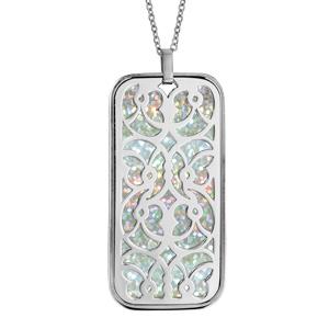 Collier en acier chaîne avec pendentif motifs volutes glitter blanc 45+10cm - Vue 1