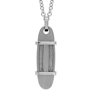 Collier en acier chaîne avec pendentif ovale orné de 2 barrettes et de 2 câble - longueur 50cm + 5cm de rallonge
