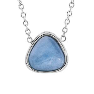 Collier en acier chaîne avec pendentif pierre Jade bleue 42+3cm - Vue 1