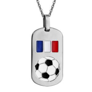 Collier en acier chaîne avec pendentif plaque G.I. avec ballon de foot et drapeau de France - longueur 50cm + 5cm de rallonge