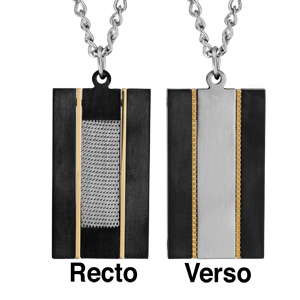 Collier en acier chaîne avec pendentif plaque réversible 1 face en PVD noir avec bande grise au milieu entourée de liserets jaunes et l'autre face avec quadrillage gris au milieu entouré de liserets jaunes - longueur 50cm + 5cm de rallonge