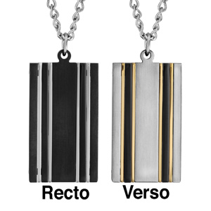Collier en acier chaîne avec pendentif plaque réversible 1 face en PVD noir avec 4 liserets gris et l'autre face grise avec 4 liserets en PVD jaune - longueur 50cm + 5cm de rallonge