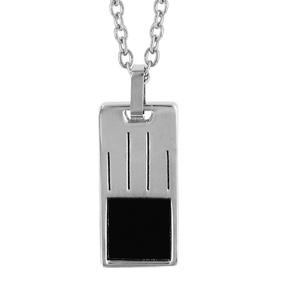 Collier en acier chaîne avec pendentif rectangle avec 4 rainures et carré en PVD noir - longueur 50cm + 5cm de rallonge