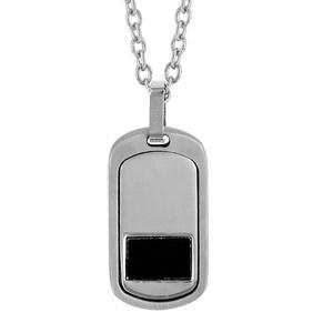 Collier en acier chaîne avec pendentif rectangle large arrondi orné d'1 rectangle en PVD noir - longueur 50cm + 5cm de rallonge