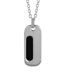 Collier en acier chaîne avec pendentif rectangle long arrondi orné de PVD noir - longueur 50cm + 5cm de rallonge