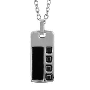 Collier en acier chaîne avec pendentif rectangle orné d'1 bande en PVD noir et d'oxydes carrés noirs - longueur 50cm + 5cm de rallonge