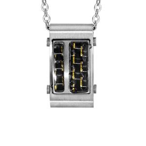 Collier en acier chaîne avec pendentif rectangulaire avec carbone quadrillé avec reflets dorés - longueur 50cm + 5cm de rallonge - Vue 1