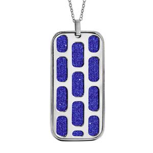 Collier en acier chaîne avec pendentif rectangulaire motifs géométriques glitter bleu royal 45+10cm - Vue 1