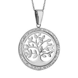 Collier en acier chaîne avec pendentif rond avec arbre de vie ajouré et contour en résine et strass blanc - longueur 42cm + 8cm de rallonge - Vue 1