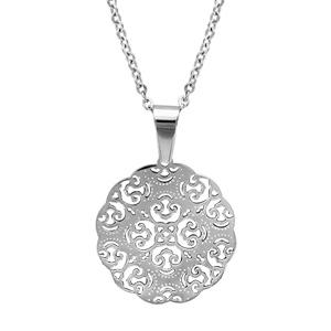 Collier en acier chaîne avec pendentif rond filigrané - longueur 43cm + 4cm de rallonge
