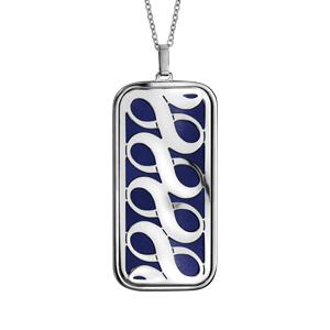 Collier en acier chaîne avec pendentif symboles infini bleu nuit 45cm + 10cm - Vue 1