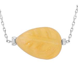 Collier en acier chaîne avec pierre naturelle Jade jaune 42+3cm (equilibre & honneteté) - Vue 1