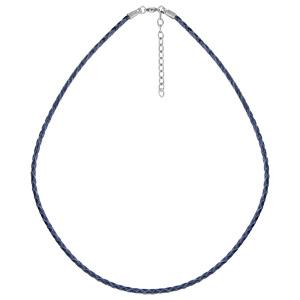 Collier en acier et cuir tressé bleu marine - longueur 45cm + 5cm de rallonge - Vue 1
