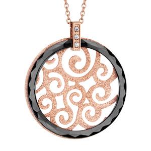 collier en acier et pvd rose cha ne avec pendentif rond en c ramique noire et motif filigran. Black Bedroom Furniture Sets. Home Design Ideas