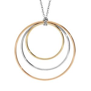 Collier en acier et PVD rose et jaune 3 anneaux 80cm - Vue 1